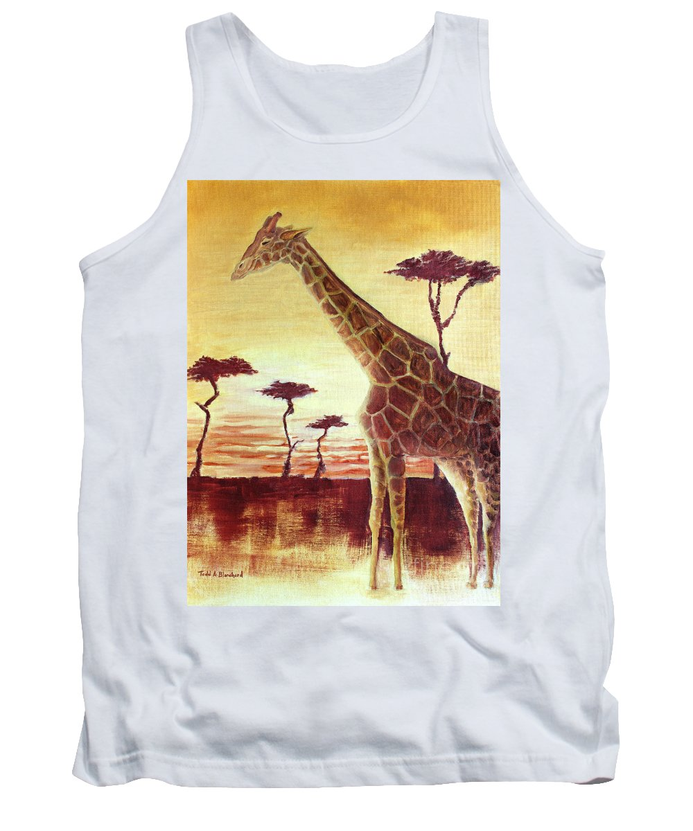 Animal Tank Top featuring the painting Patches by Todd A Blanchard