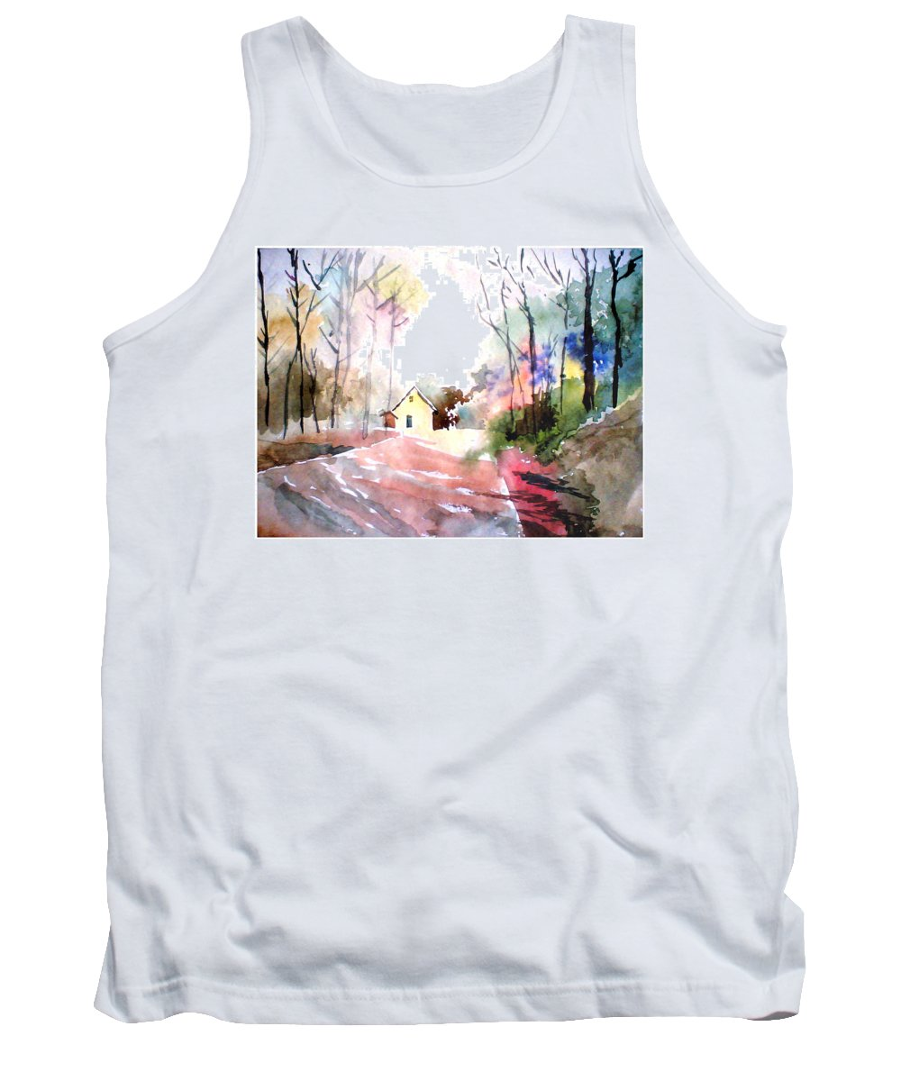 Nature Tank Top featuring the painting Path In Colors by Anil Nene