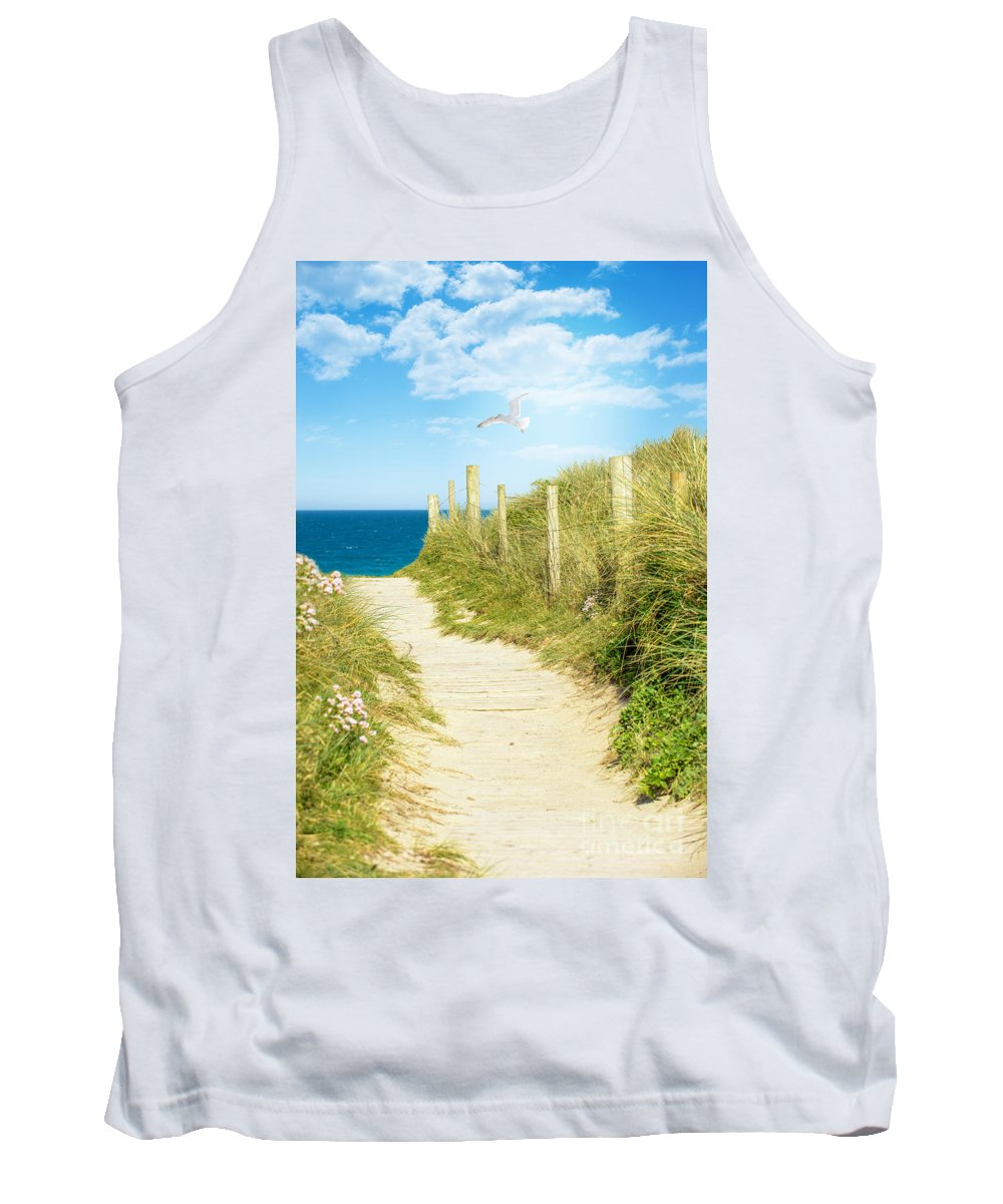 Path Tank Top featuring the photograph Path To The Ocean by Amanda Elwell