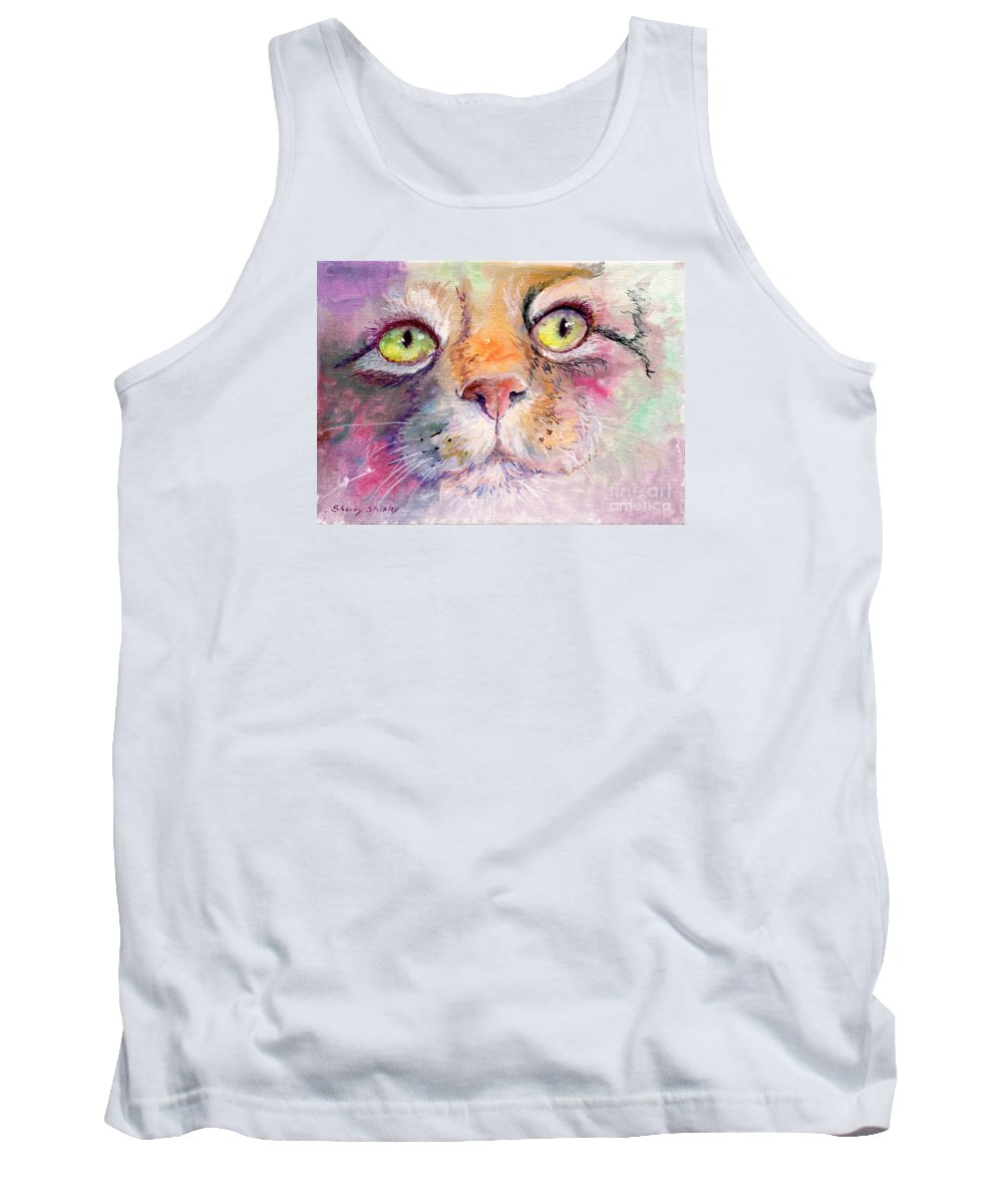 Cat Tank Top featuring the painting Patience by Sherry Shipley