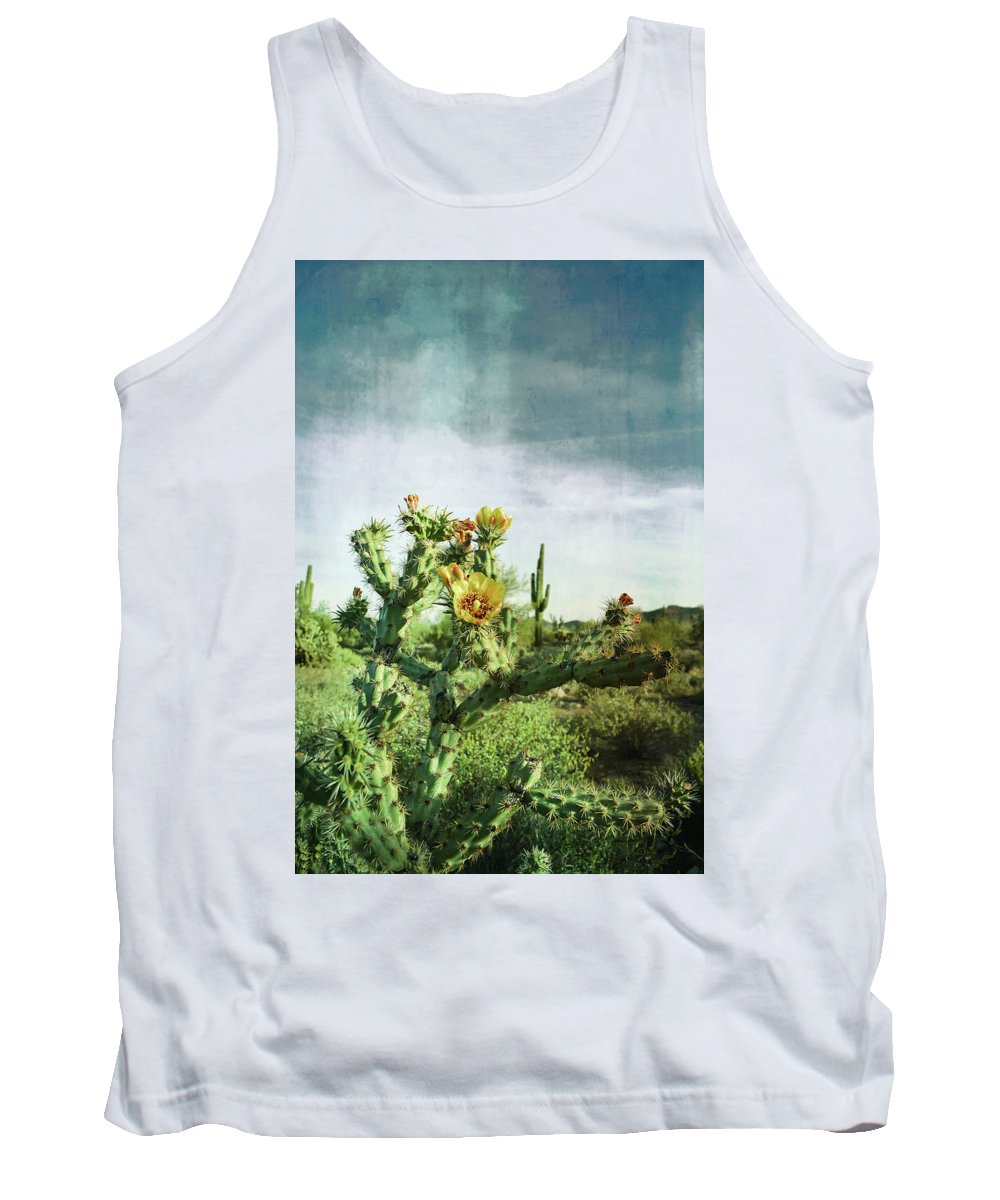 Cactus Tank Top featuring the photograph Patina Green Desert Bloom by Aimee L Maher ALM GALLERY
