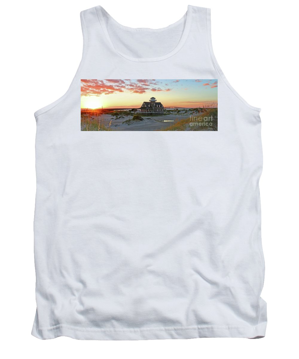 Pea Island Life Saving Station Tank Top featuring the photograph Oregon Inlet Life Saving Station 2687 Pano Signed by Jack Schultz