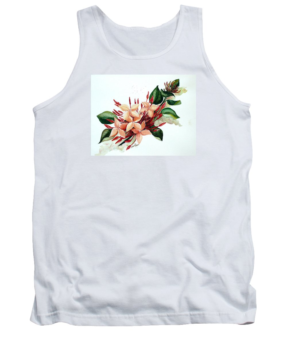 Floral Peach Flower Watercolor Ixora Botanical Bloom Tank Top featuring the painting Peachy Ixora by Karin Dawn Kelshall- Best