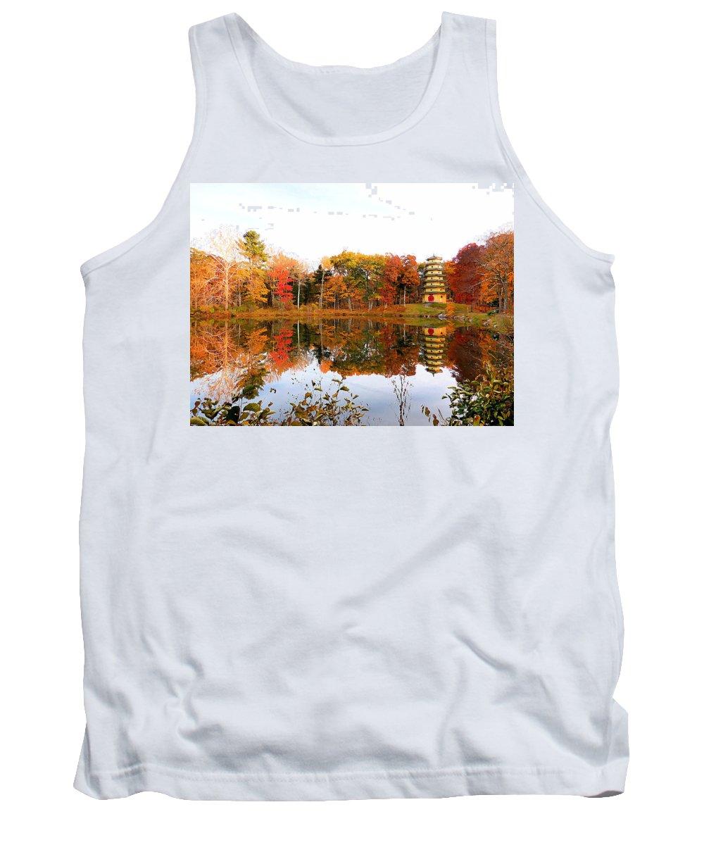 Peak Autumn Reflection Tank Top featuring the painting Peak Autumn Reflection 7 by Jeelan Clark