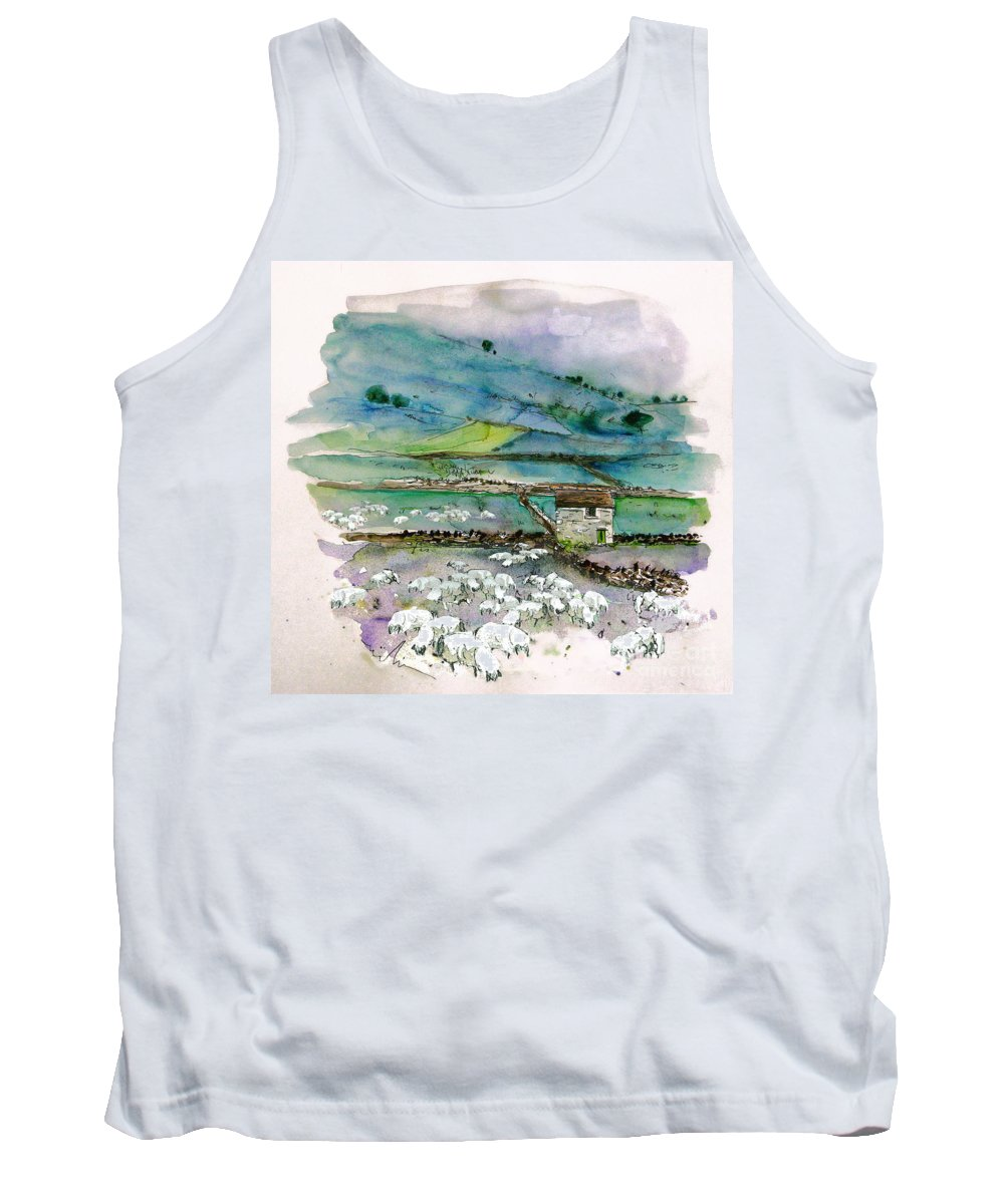 Paintings England Watercolour Travel Sketches Ink Drawings Art Landscape Paintings Town Tank Top featuring the painting Peak District Uk Travel Sketch by Miki De Goodaboom