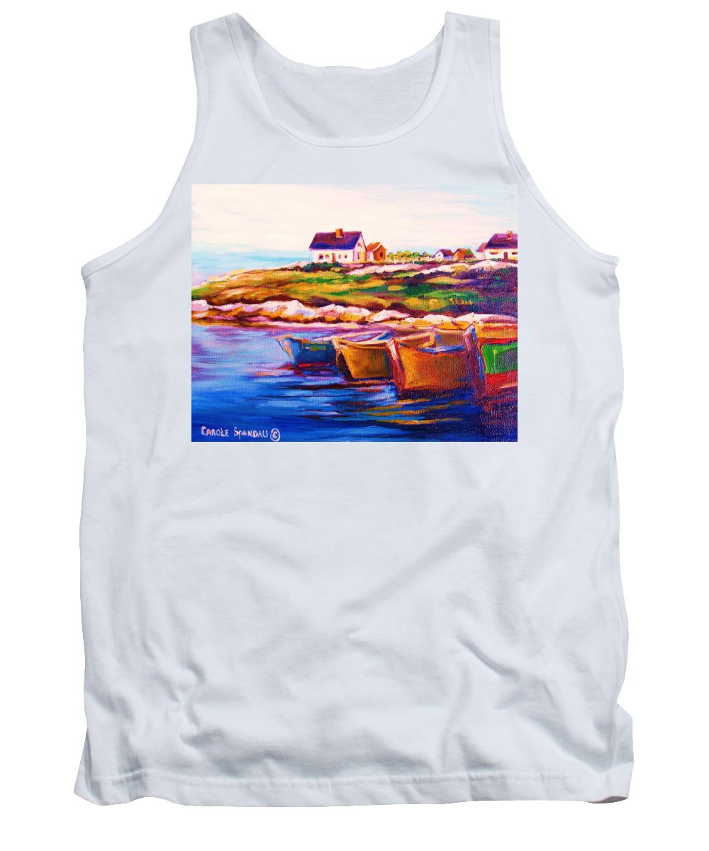 Row Boats Tank Top featuring the painting Peggys Cove Four Row Boats by Carole Spandau