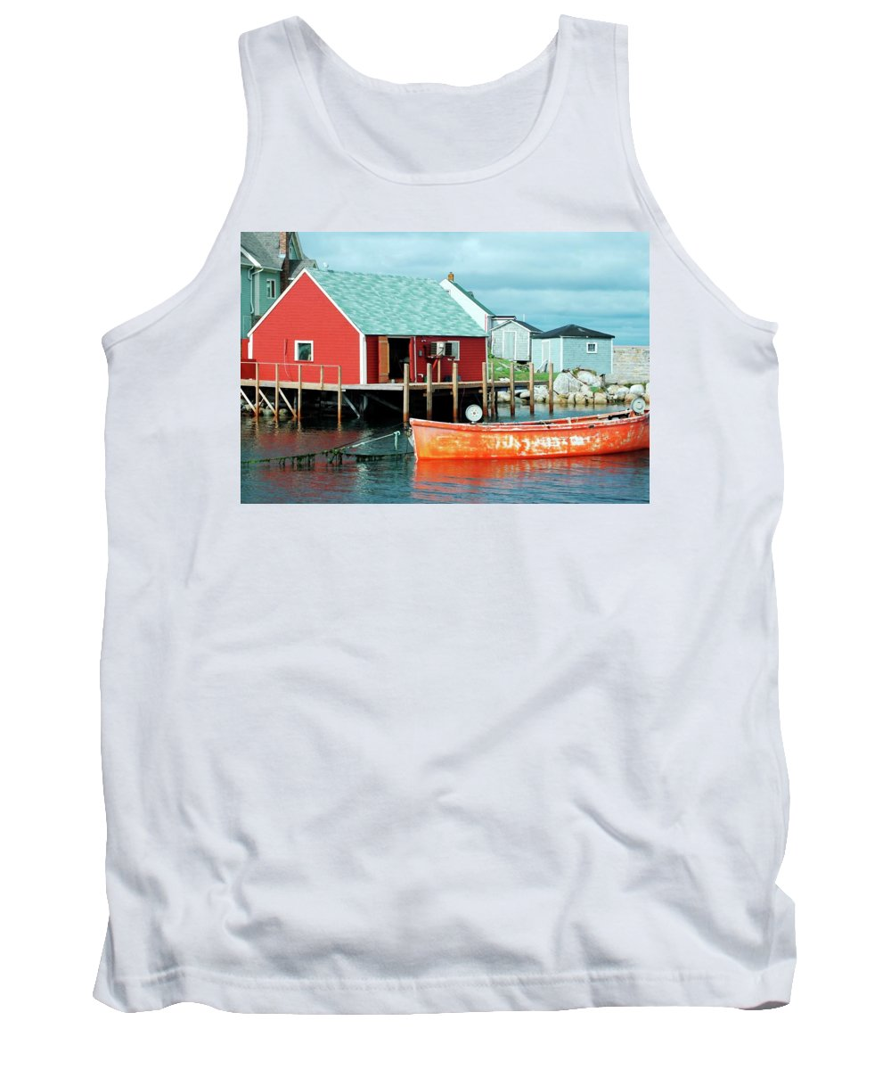 Red Tank Top featuring the photograph Peggy's Cove by Kathleen Struckle