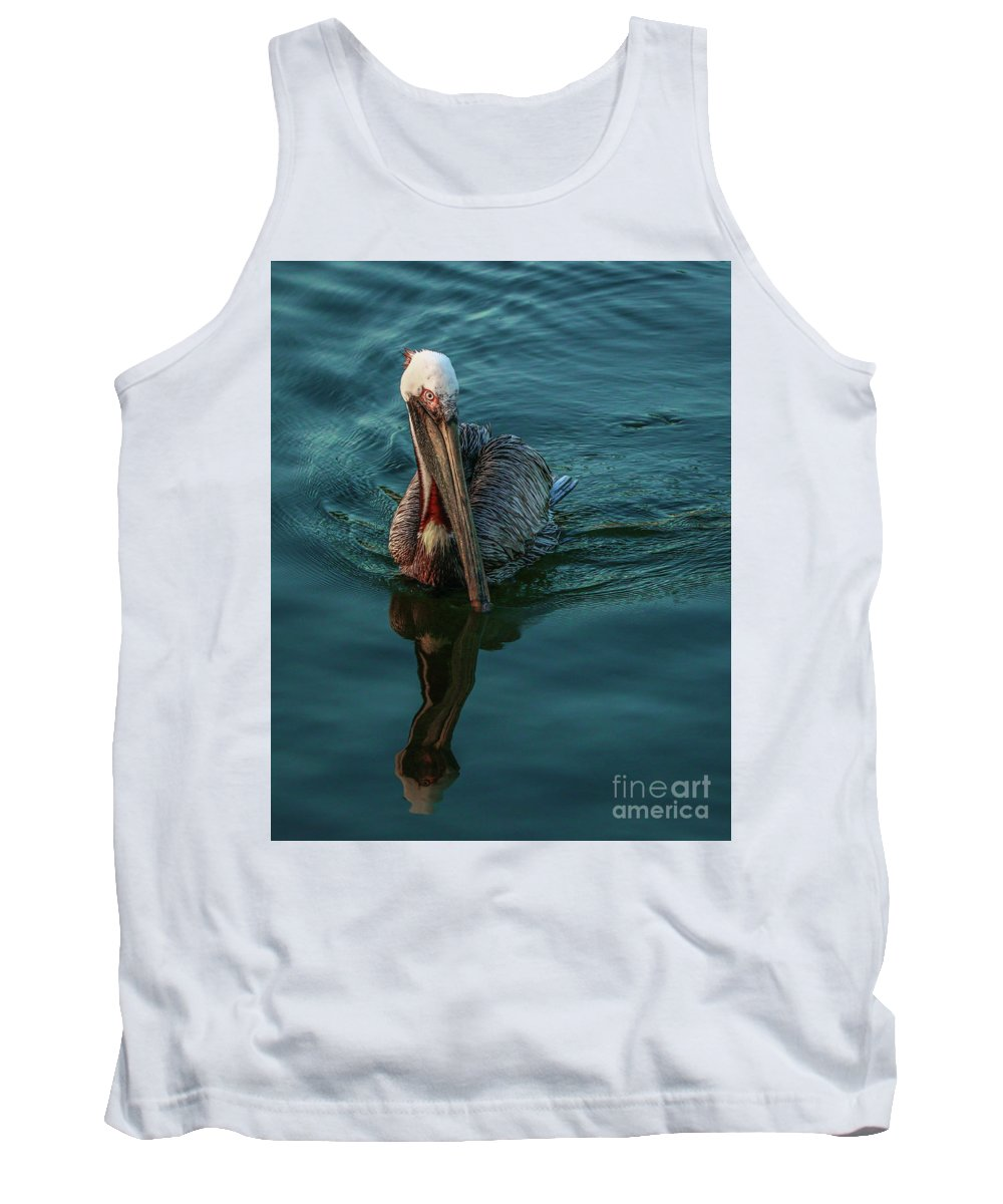 Pelican Tank Top featuring the photograph Pelican Reflection by Tom Claud