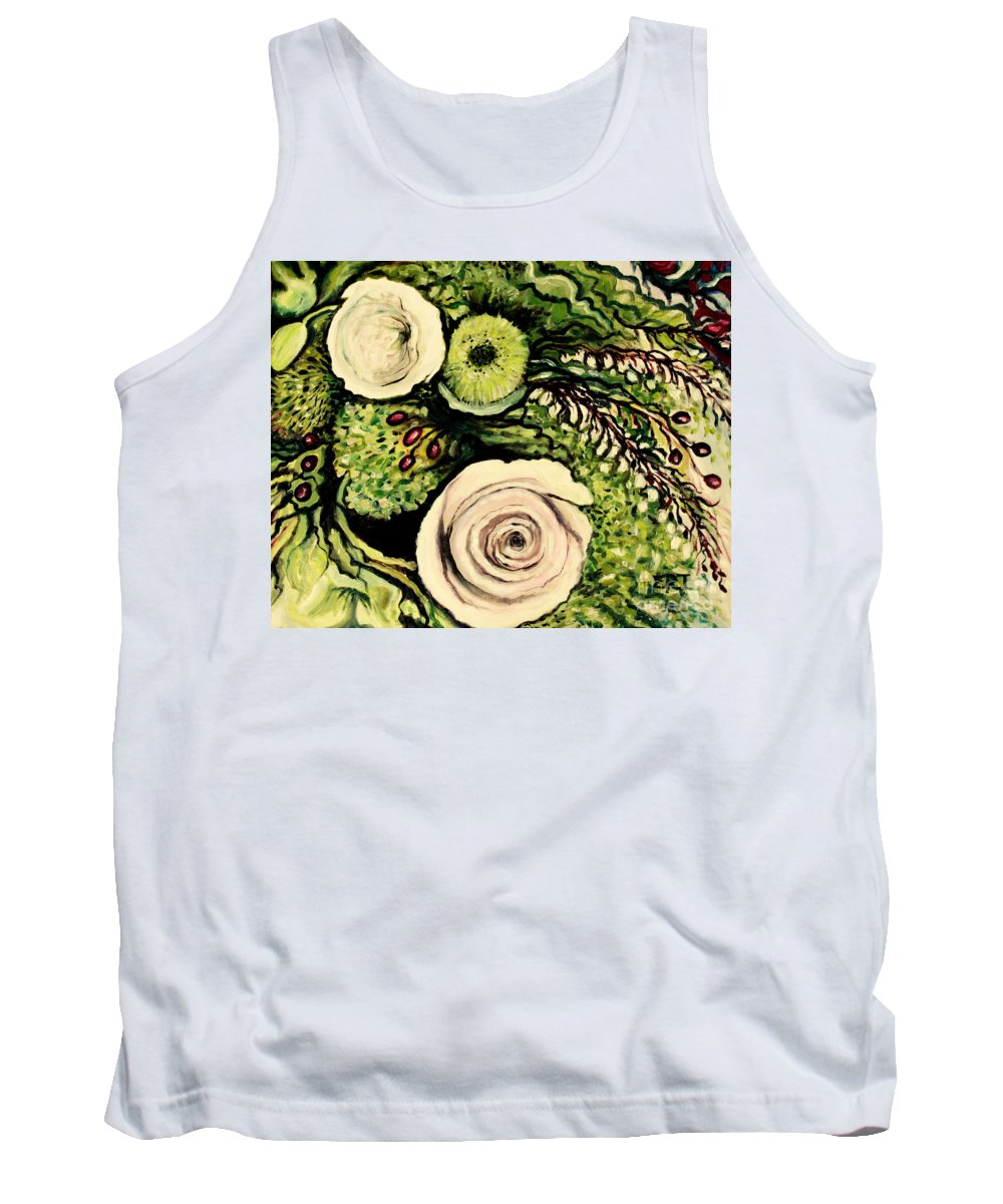Oil Tank Top featuring the painting Peonies And Hypercom by Elizabeth Robinette Tyndall