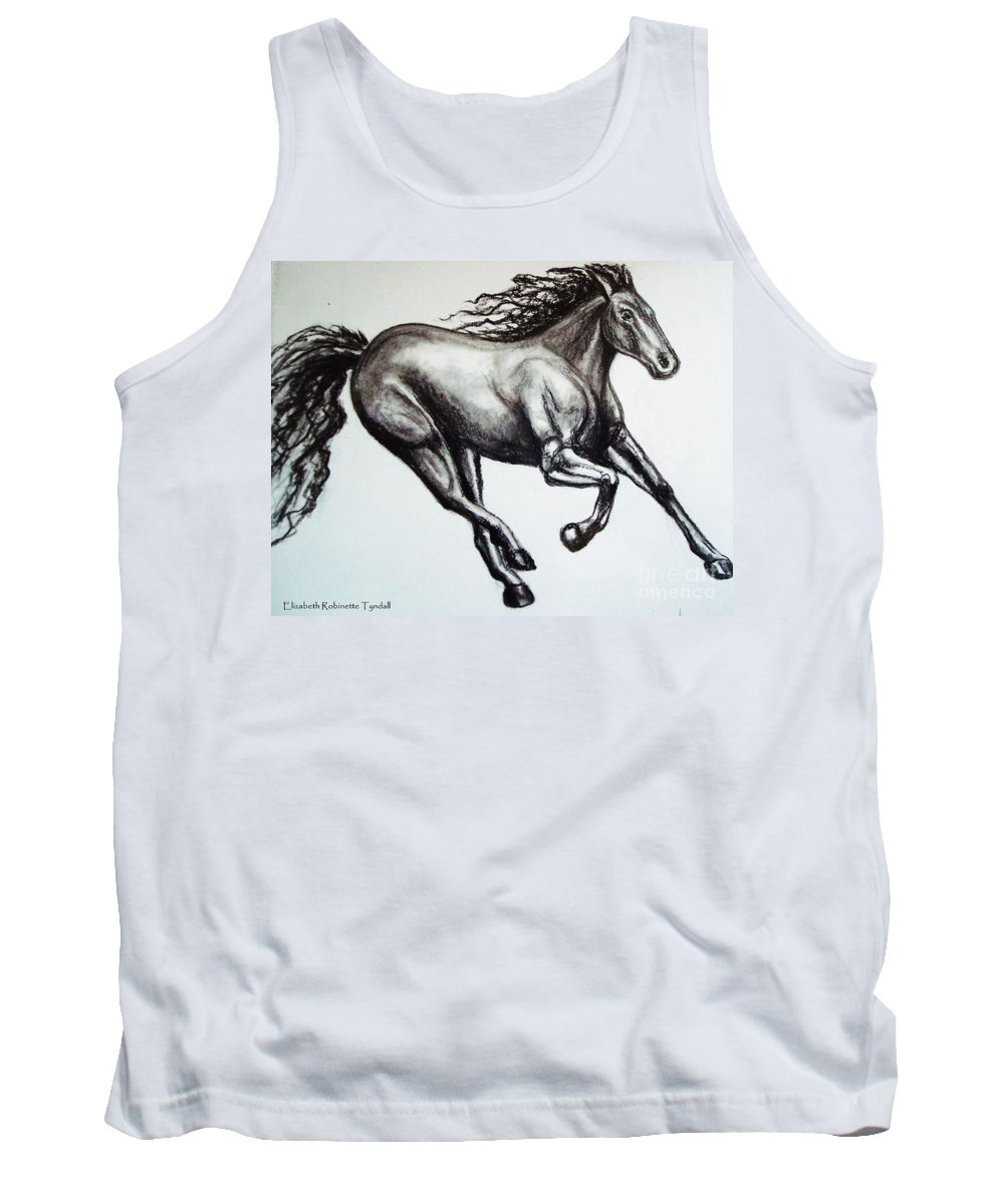 Horse Tank Top featuring the drawing Persistance by Elizabeth Robinette Tyndall
