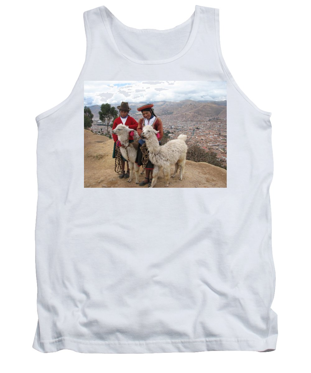 Landscape Tank Top featuring the photograph Peruvian Girls With Llamas by Sandra Bourret