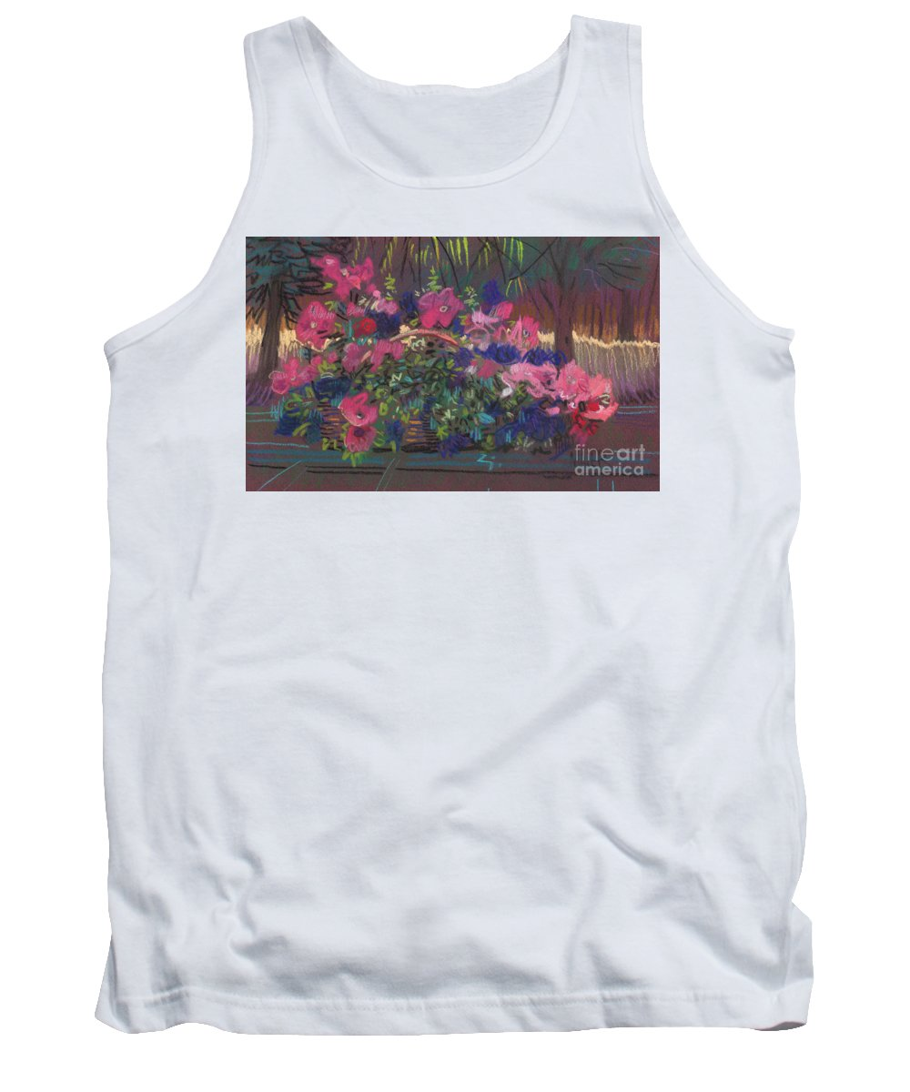 Petunias Tank Top featuring the drawing A basket of petunias by Donald Maier