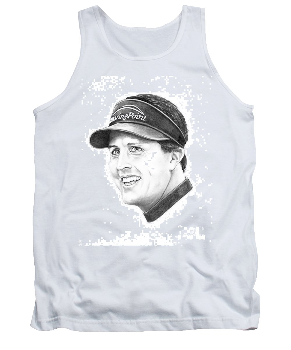 Portrait Tank Top featuring the drawing Phil Mickelson by Murphy Elliott