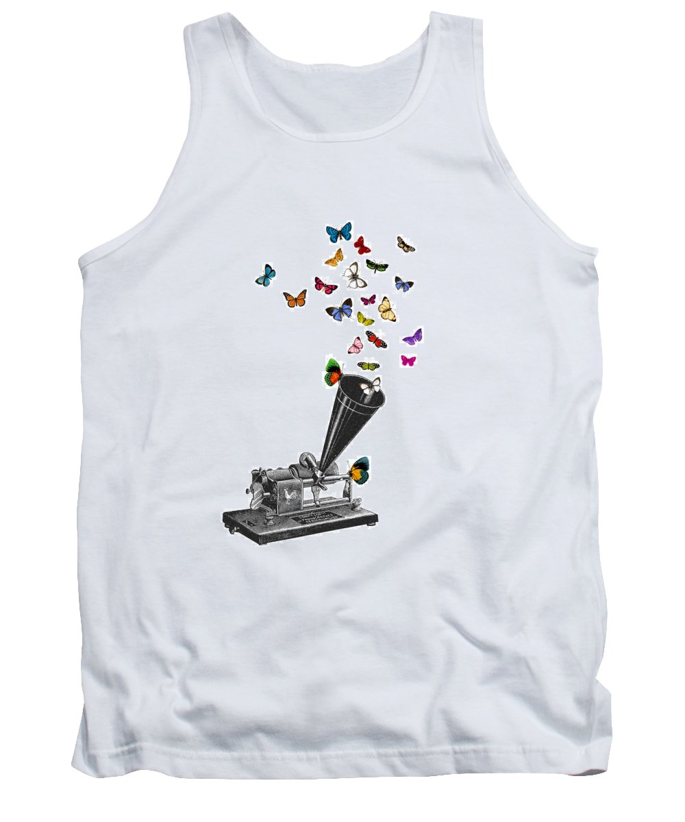 Phonograph Tank Top featuring the digital art Phonograph And Butterflies Print by Madame Memento
