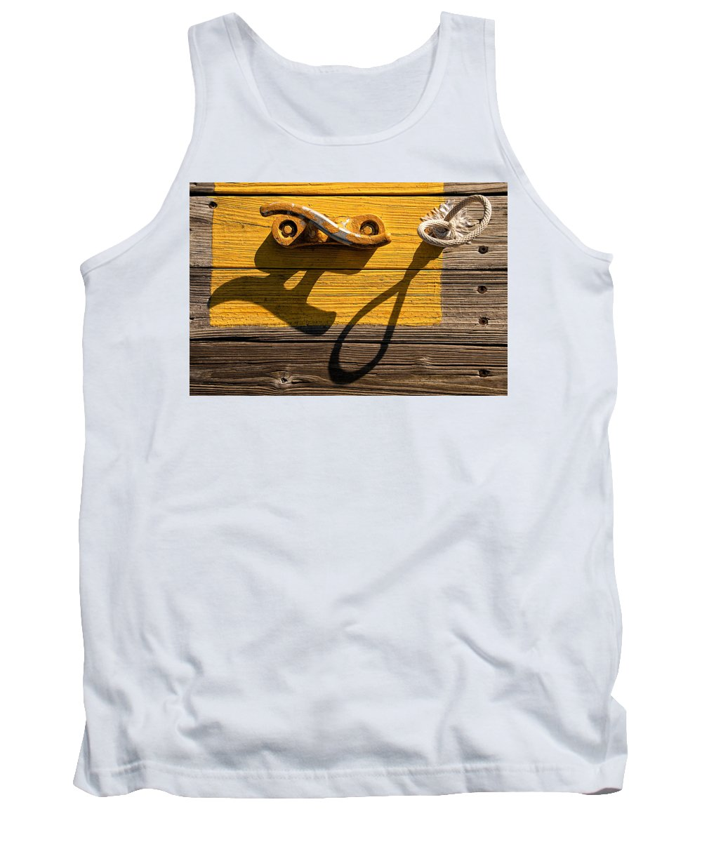 Dock Tank Top featuring the photograph Pi Theta Shadows - Dock Cleat And Rope by Mitch Spence