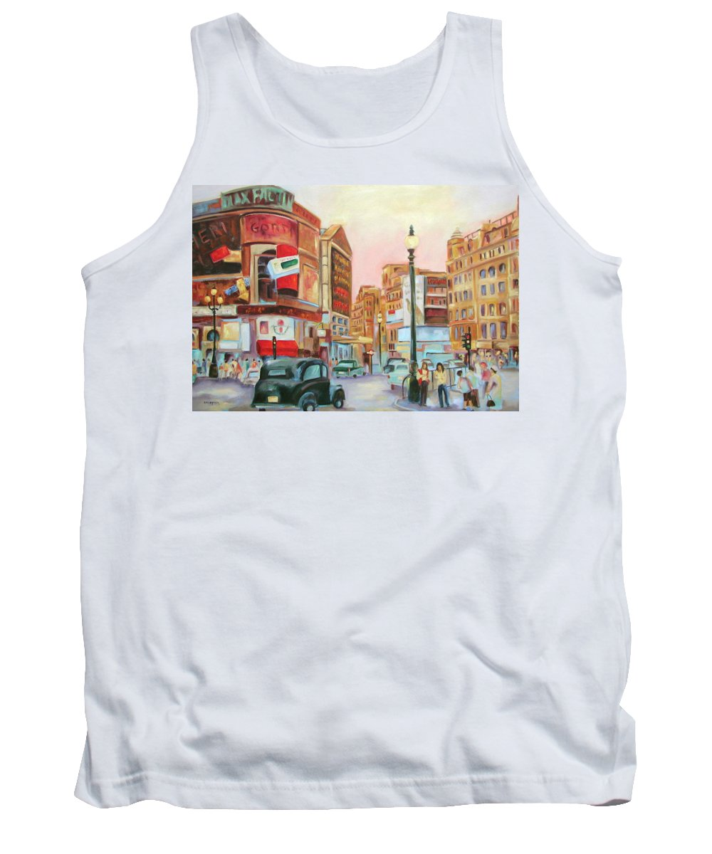 Cityscape Tank Top featuring the painting Picadilly by Ginger Concepcion