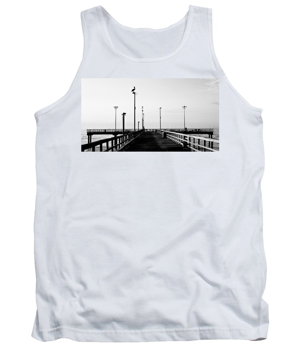 Bird Tank Top featuring the photograph Pier And Pelican by Marilyn Hunt