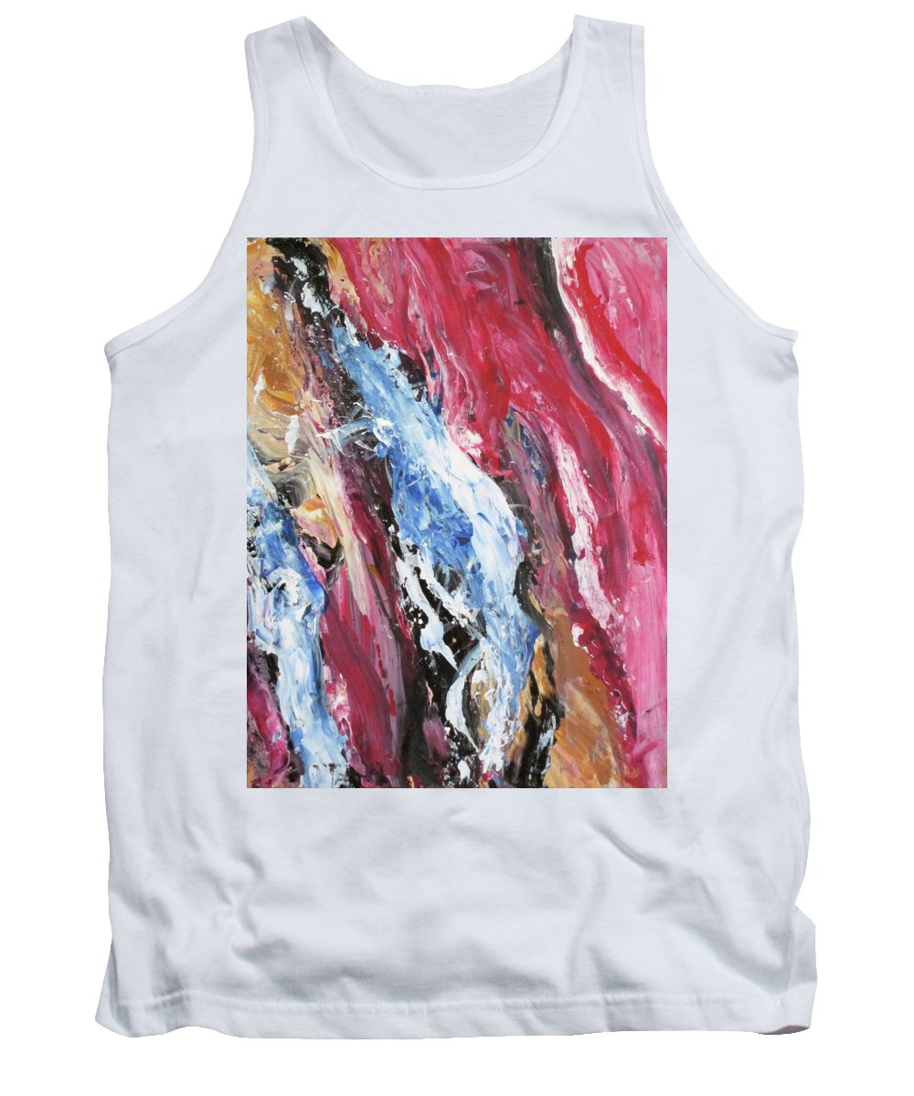 Abstract Tank Top featuring the painting Pink Flow Abstract by Lillian Bell