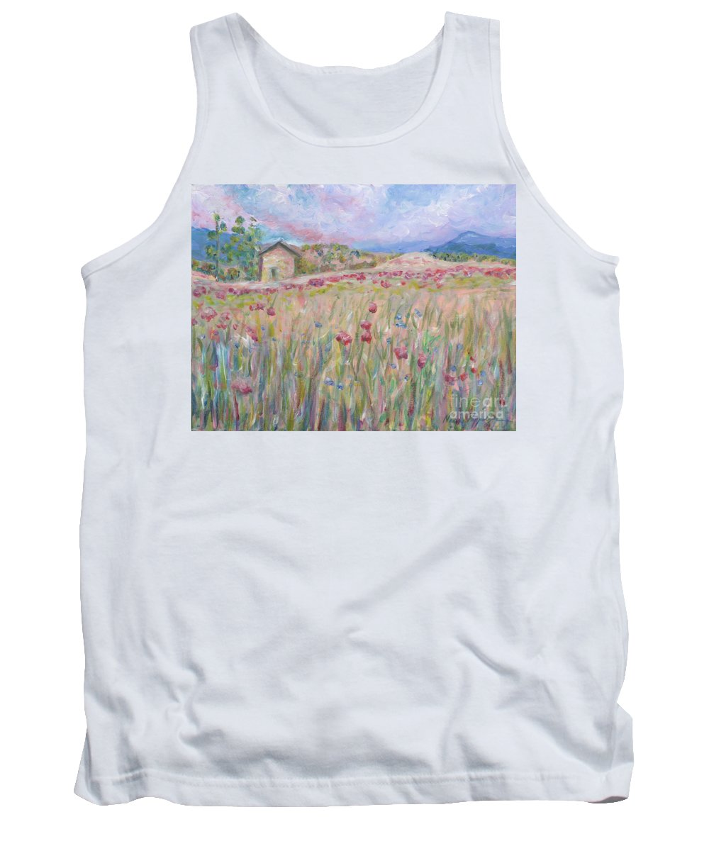 Pink Tank Top featuring the painting Pink Poppy Field by Nadine Rippelmeyer
