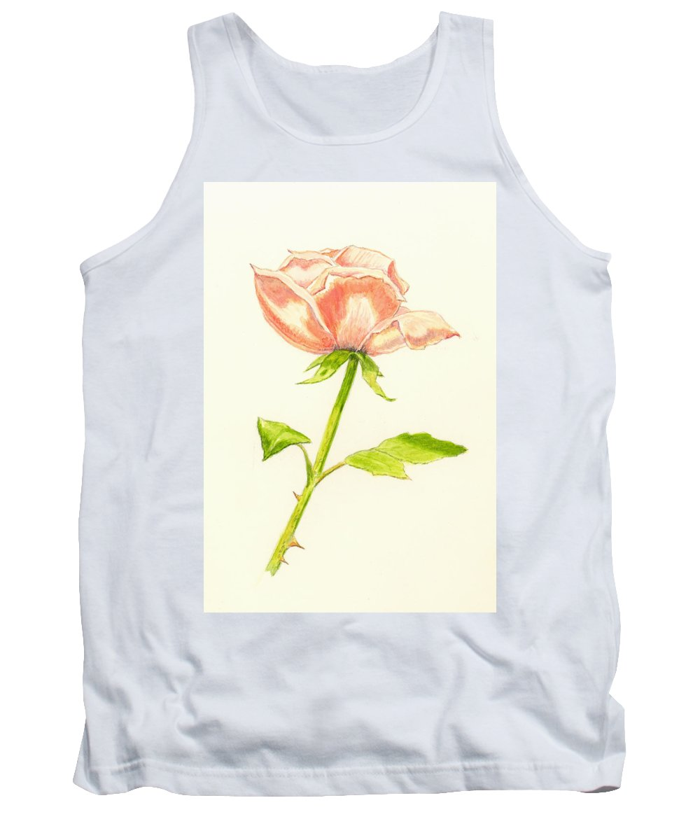 Rose Tank Top featuring the painting Pink Rose by Michael Vigliotti