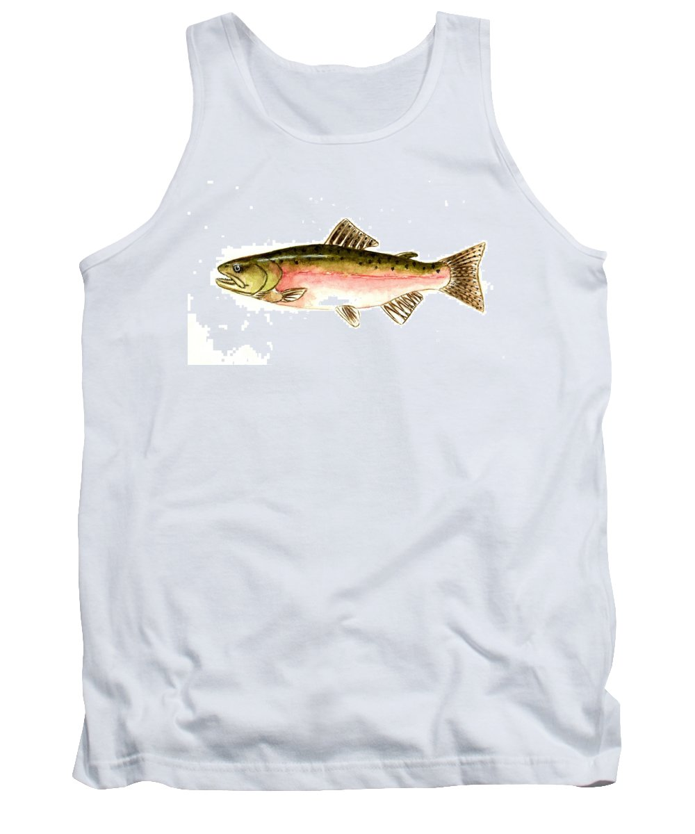Fish Tank Top featuring the painting Pink Salmon by Michael Vigliotti