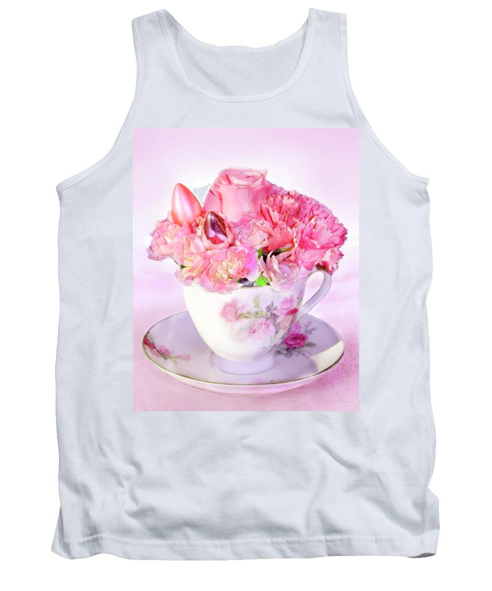 Arrangement Tank Top featuring the digital art Pink Teacup Bouquet by Francesa Miller
