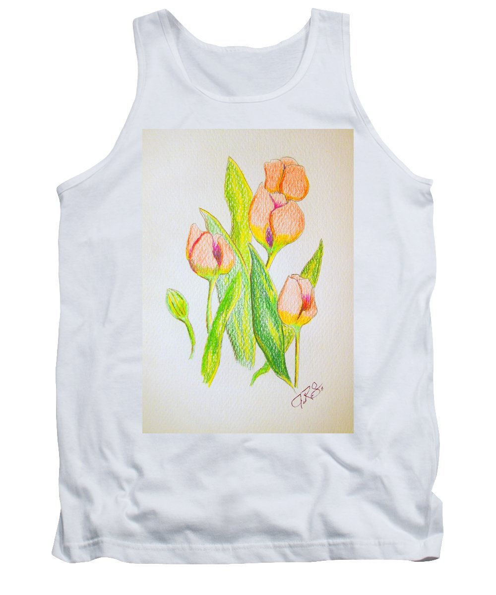 Tulips Tank Top featuring the drawing Pink Tulips by J R Seymour