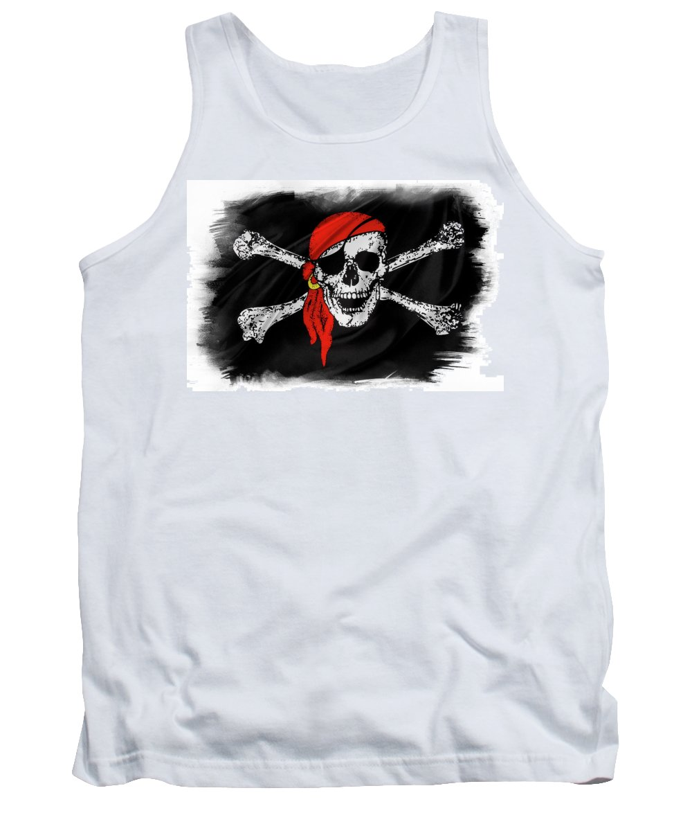 Color Tank Top featuring the photograph Pirate Flag by Les Cunliffe