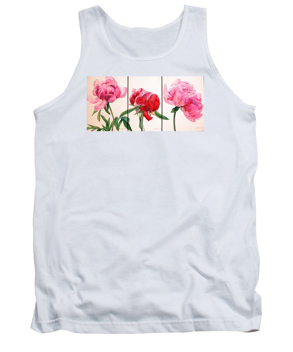 Floral Painting Tank Top featuring the painting Pivoines by Muriel Dolemieux