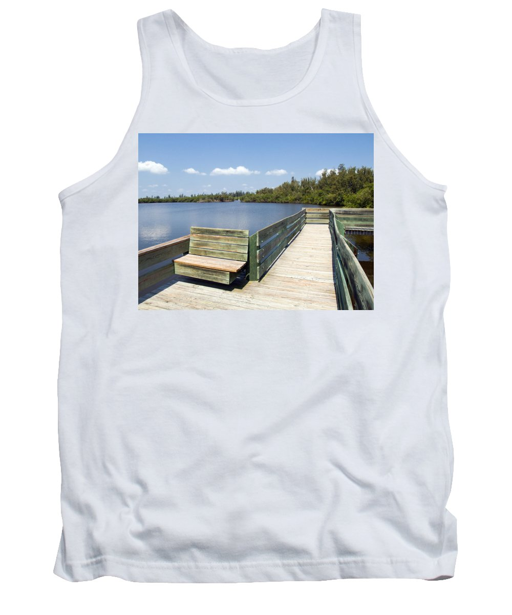 Kayak; Canoe; Florida; Round; Island; St; Saint; Lucie; County; Vero; Beach; Indian. River; Estuary; Tank Top featuring the photograph Place For Fishing Or Just Sitting At Round Island In Florida by Allan Hughes