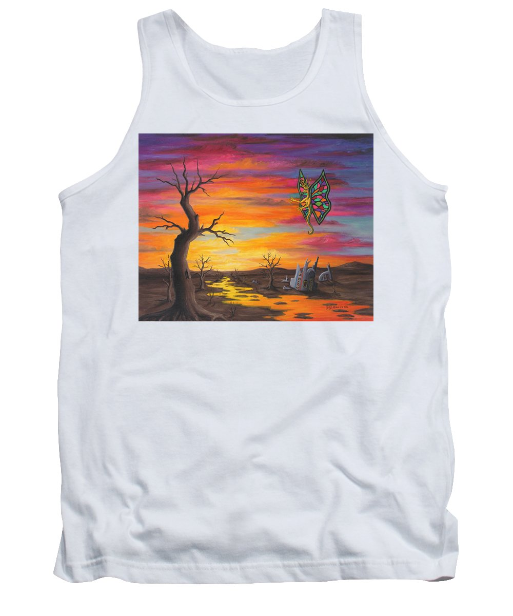 Fantasy Tank Top featuring the painting Planet Px7 by Roz Eve