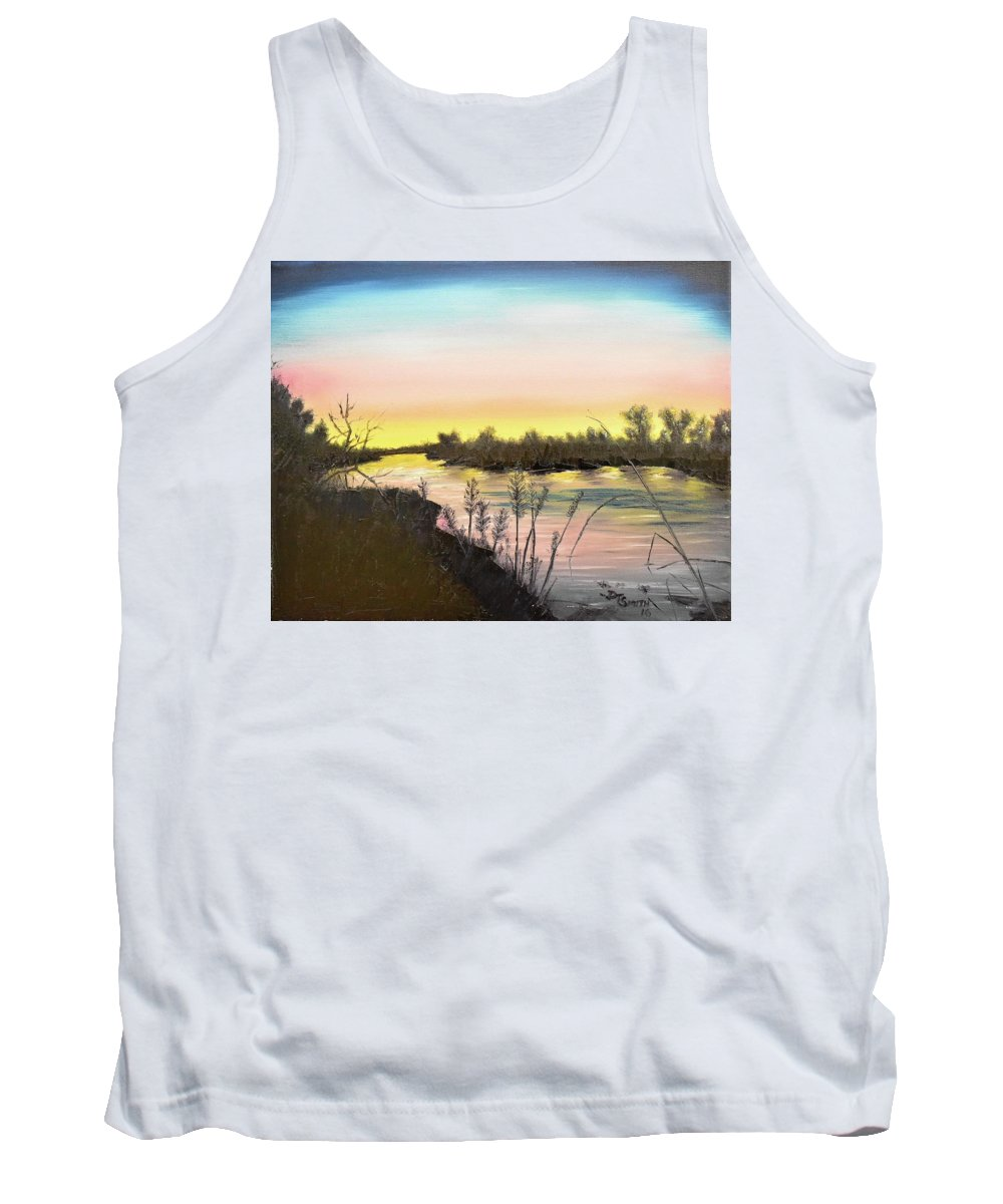 Platte River Tank Top featuring the painting Platte River Sunrise by Daniel Smith