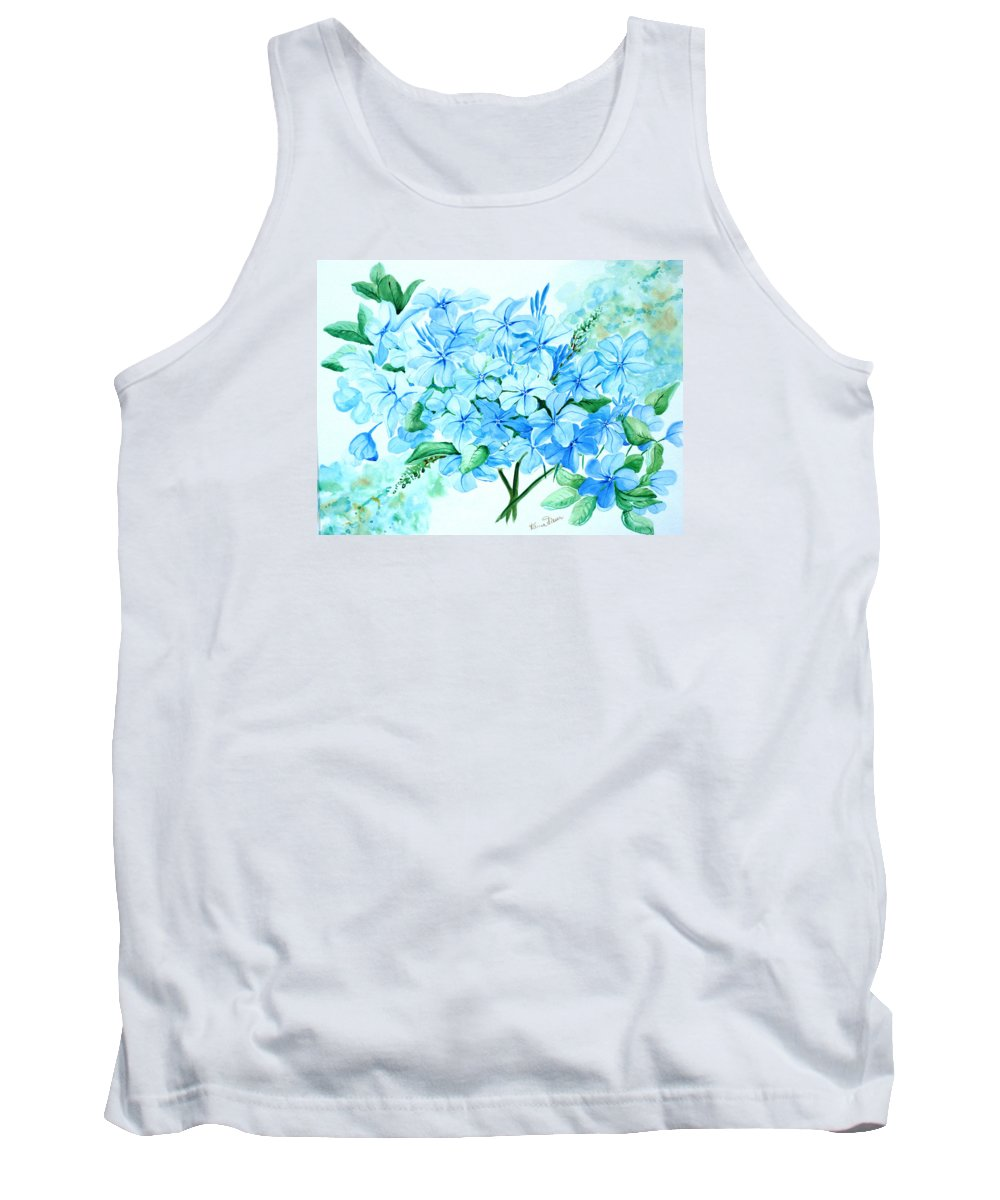 Floral Blue Painting Plumbago Painting Flower Painting Botanical Painting Bloom Blue Painting Tank Top featuring the painting Plumbago by Karin Dawn Kelshall- Best