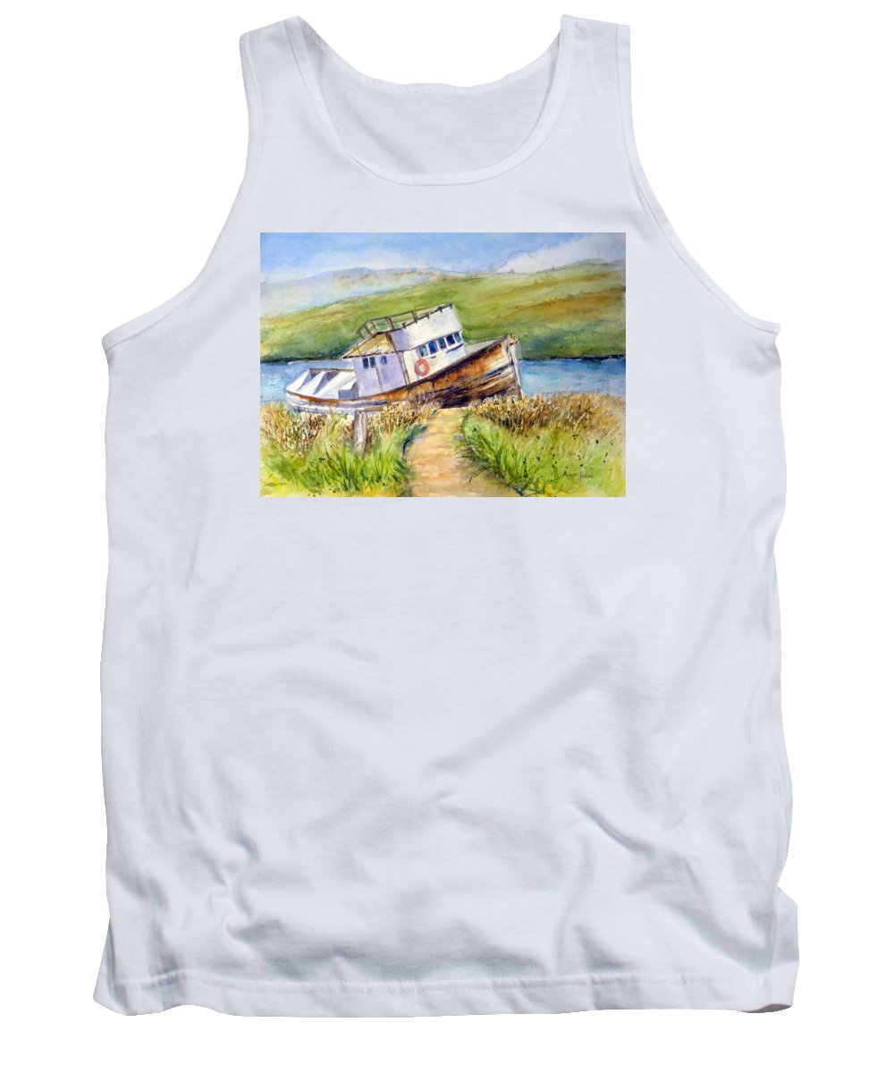 Point Reyes Tank Top featuring the painting Point Reyes Relic by Anna Jacke