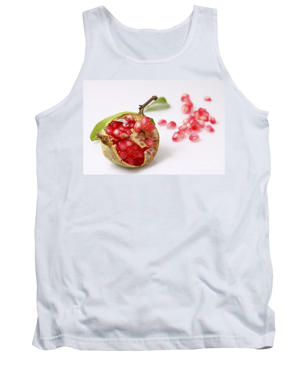 Pomegranate Tank Top featuring the photograph Pomegranate And Seeds by Yedidya yos mizrachi