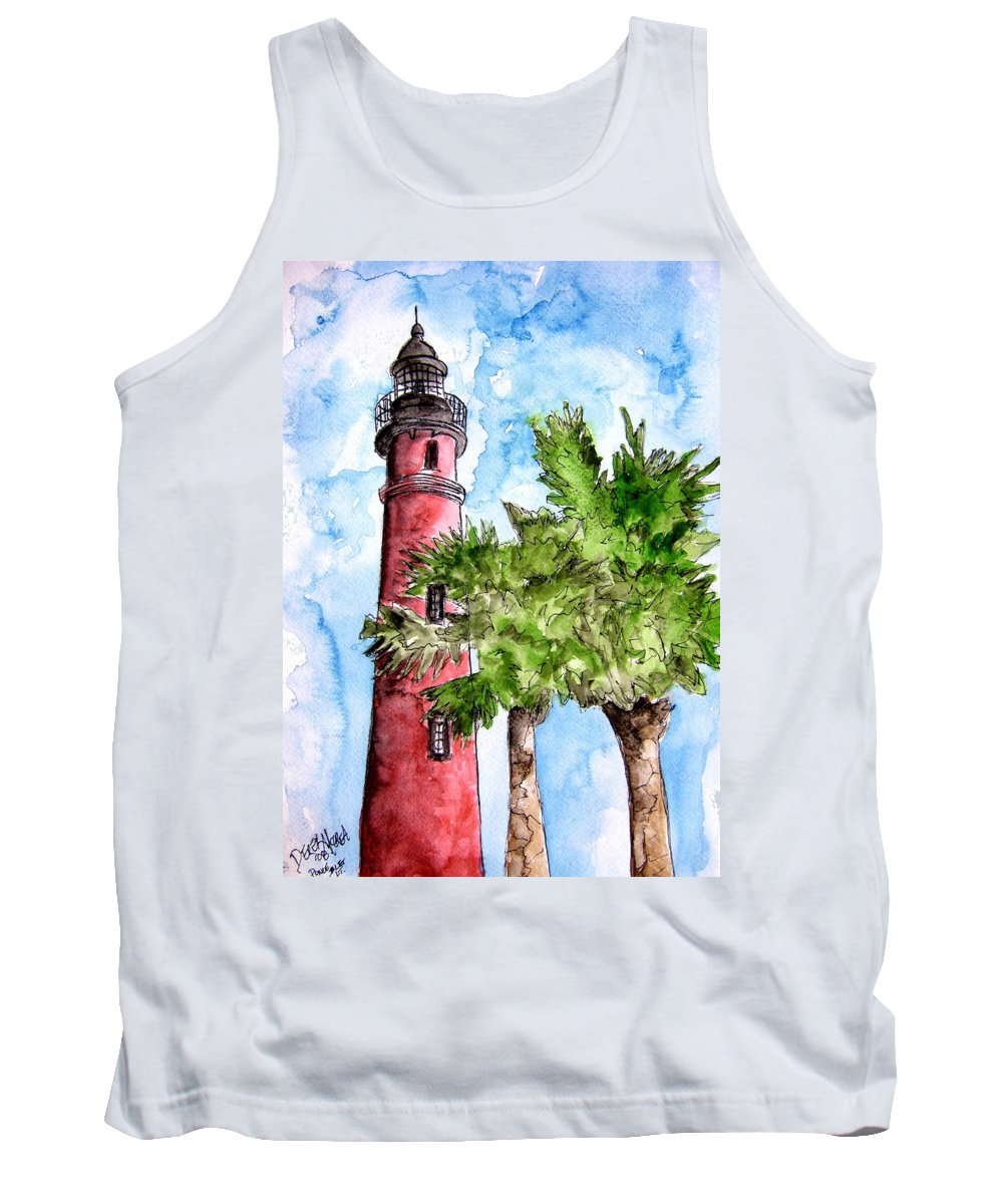Ponce De Leon Tank Top featuring the painting Ponce De Leon Inlet Florida Lighthouse Art by Derek Mccrea