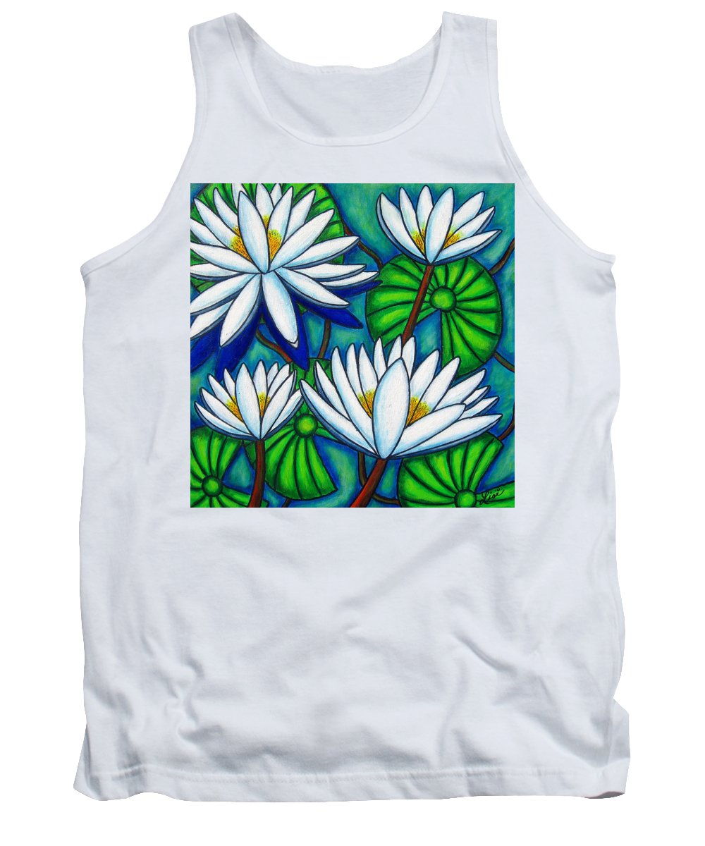 Water Lilies Tank Top featuring the painting Pond Jewels by Lisa Lorenz