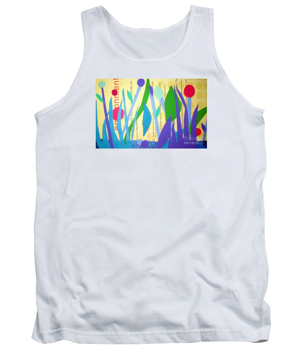 Landscape Tank Top featuring the mixed media Pond Life by Debra Bretton Robinson