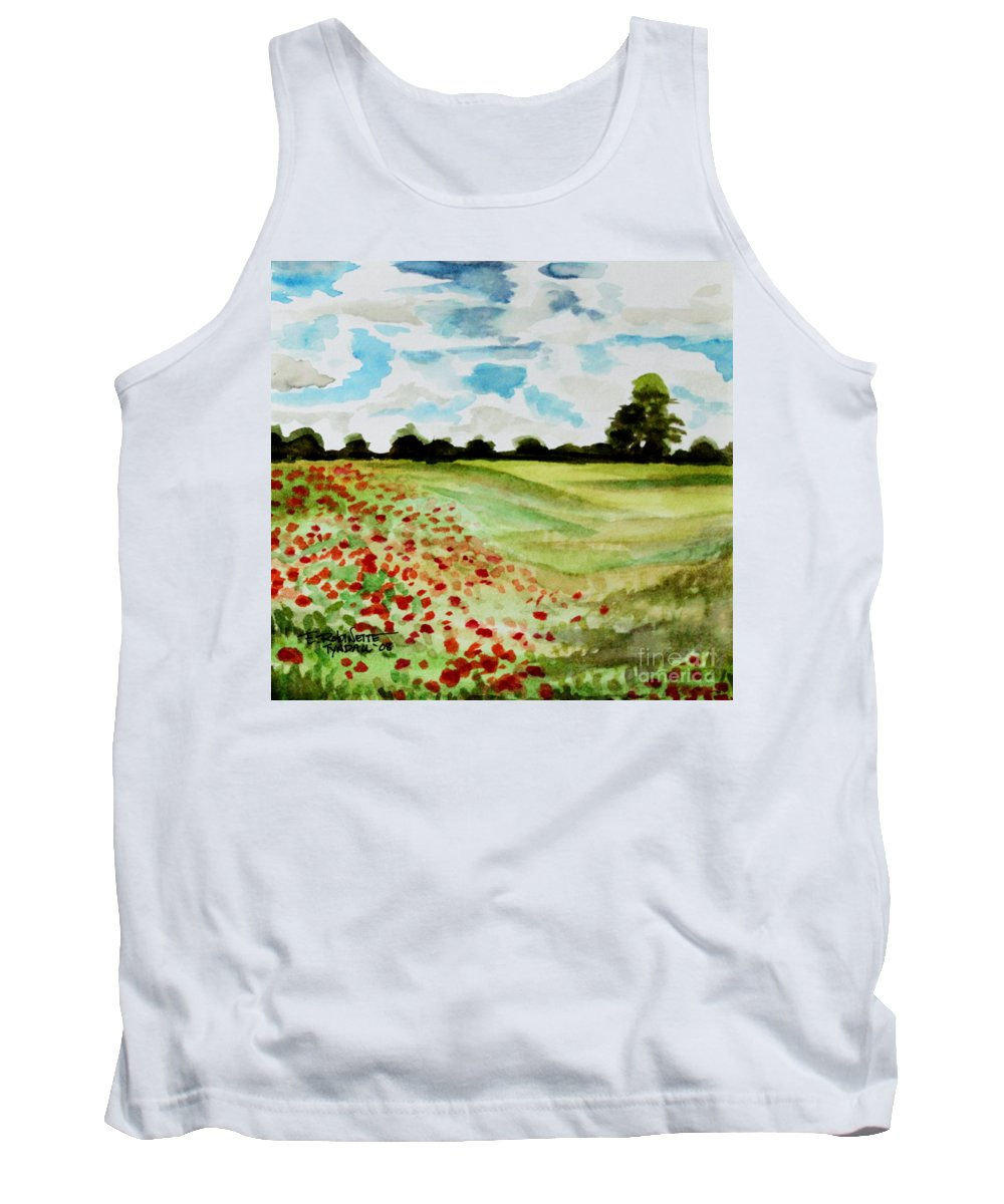 Landscape Tank Top featuring the painting Poppy Meadow by Elizabeth Robinette Tyndall