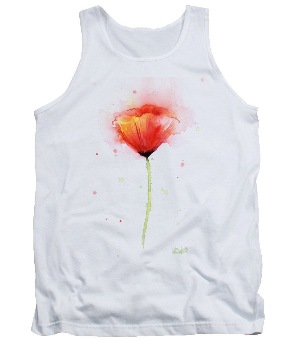 Watercolor Tank Top featuring the painting Poppy Watercolor Red Abstract Flower by Olga Shvartsur