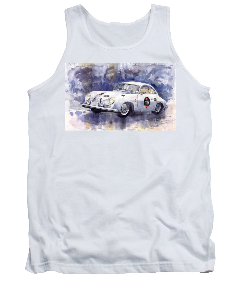 Watercolour Tank Top featuring the painting Porsche 356 Coupe by Yuriy Shevchuk