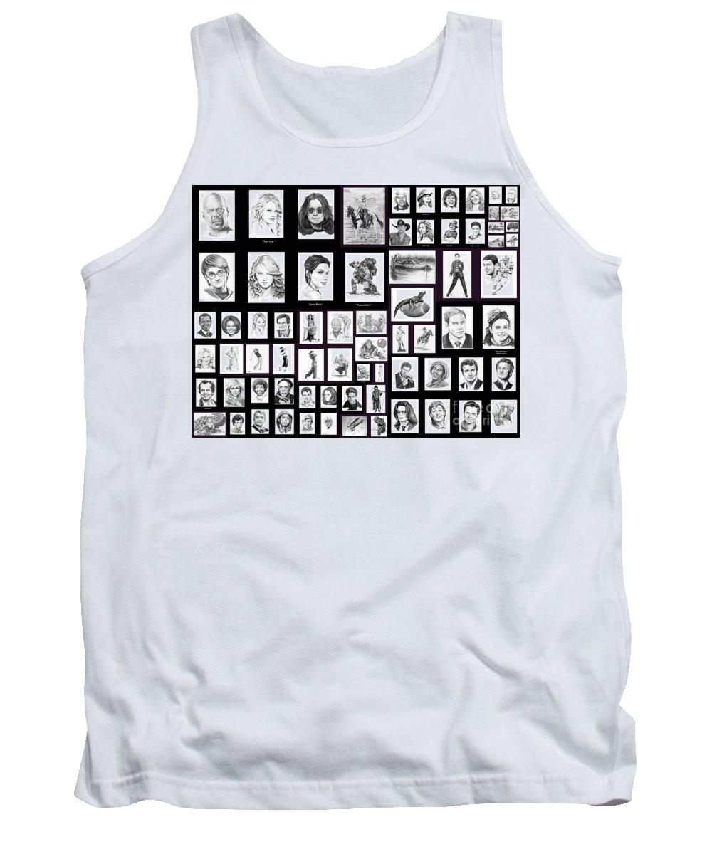 Portraits Tank Top featuring the drawing Portrait And Illustrations On Fine Art America by Murphy Elliott