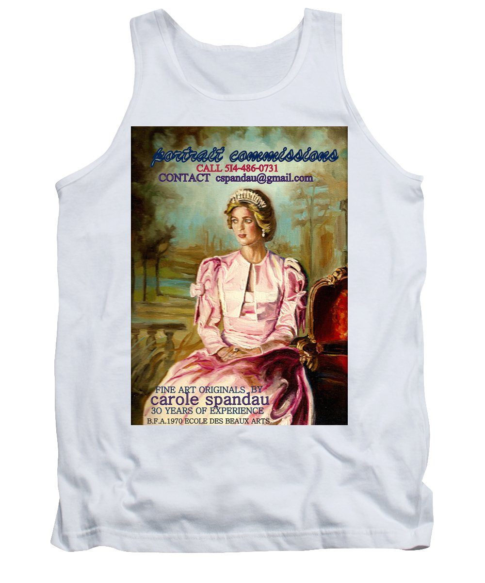 Commissioned Art Tank Top featuring the painting Portrait Commissions By Portrait Artist Carole Spandau by Carole Spandau