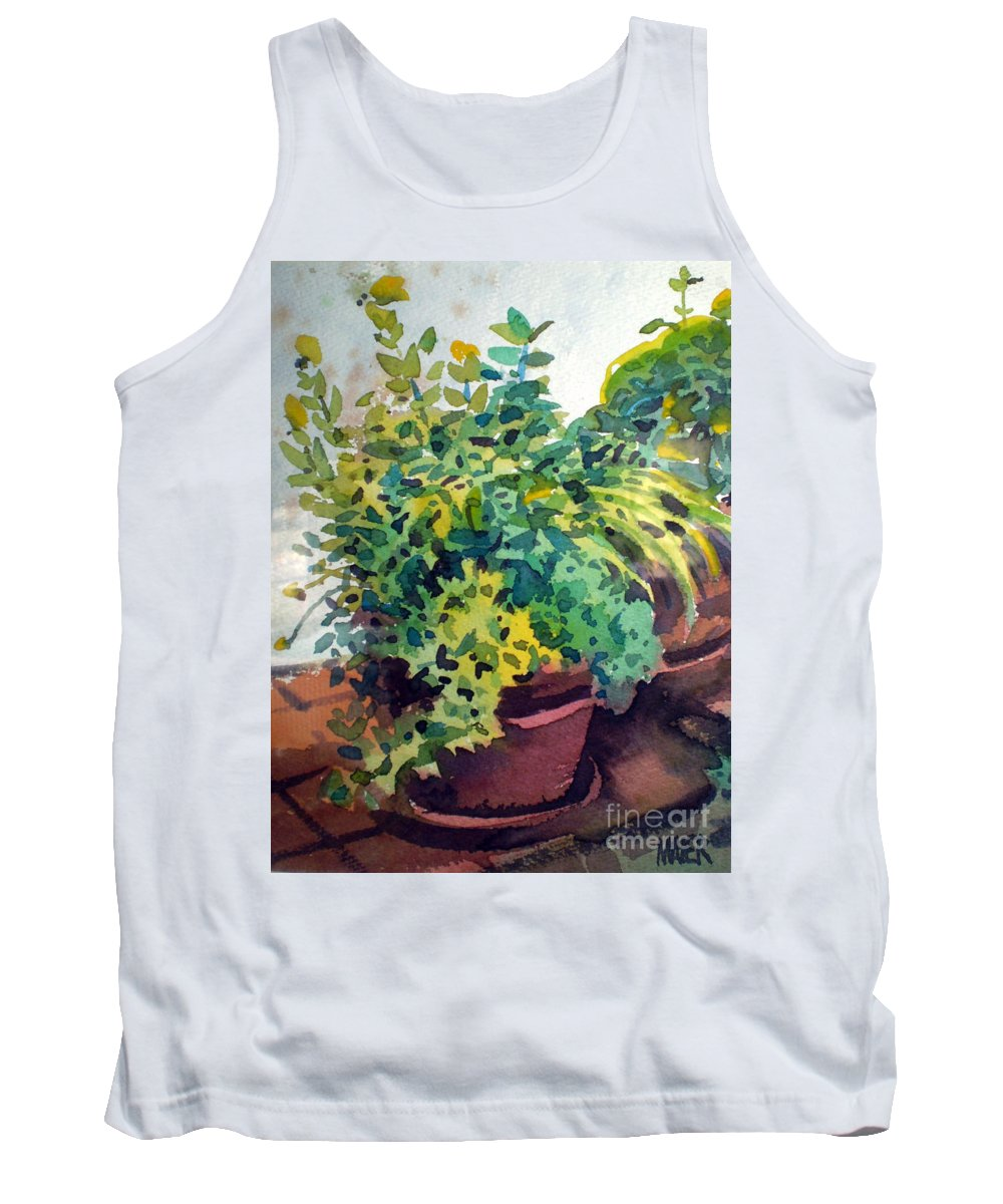 Herbs Tank Top featuring the painting Potted Herbs by Donald Maier
