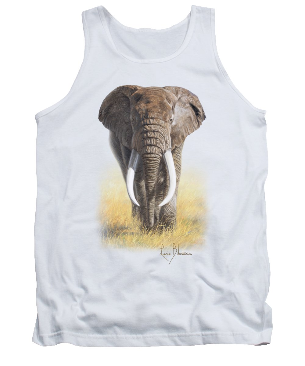 Elephant Tank Top featuring the painting Power Of Nature by Lucie Bilodeau