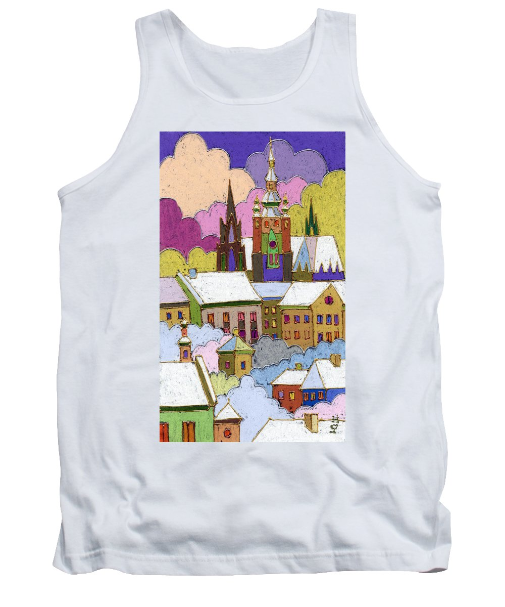 Pastel Tank Top featuring the painting Prague Old Roofs Prague Castle Winter by Yuriy Shevchuk