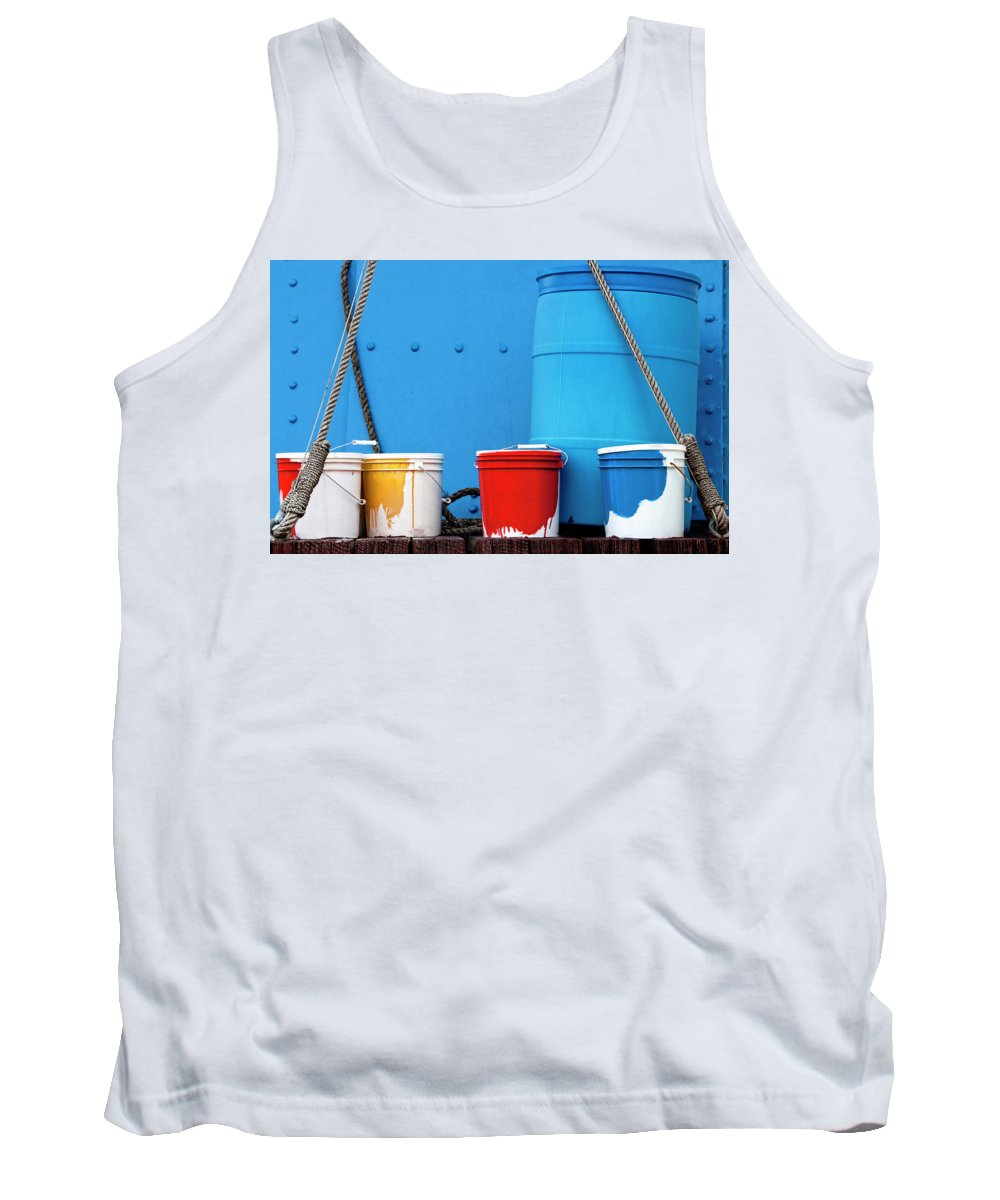 Paint Tank Top featuring the photograph Primary Colors - Paint Buckets On A Ship by Mitch Spence