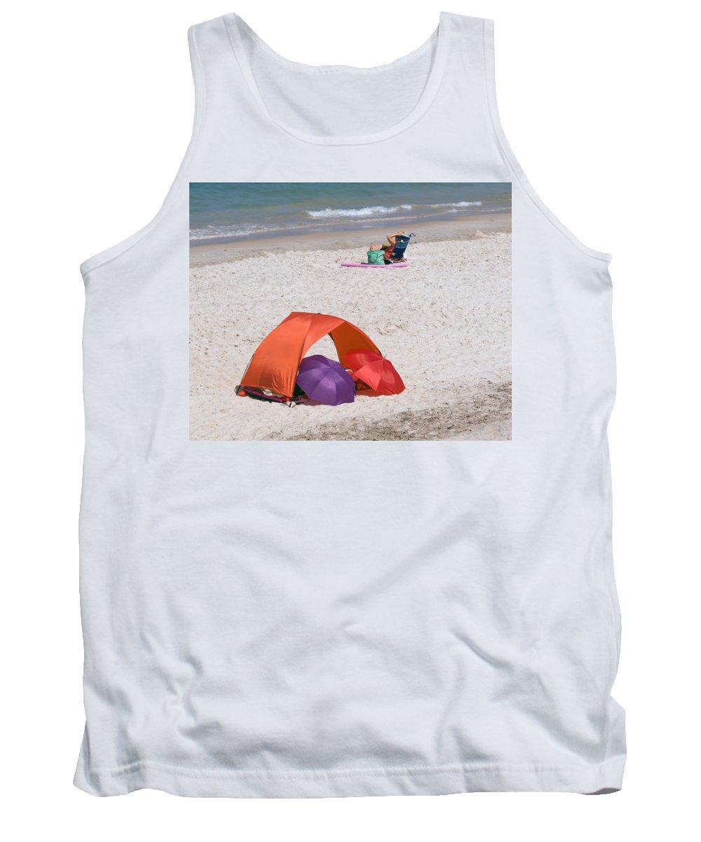 Florida; Vero; Beach; Shore; Coast; East; Atlantic; Ocean; Sand; Sandy; Umbrella; Umbrellas; Sun; Su Tank Top featuring the photograph Privacy For Two At The Beach by Allan Hughes