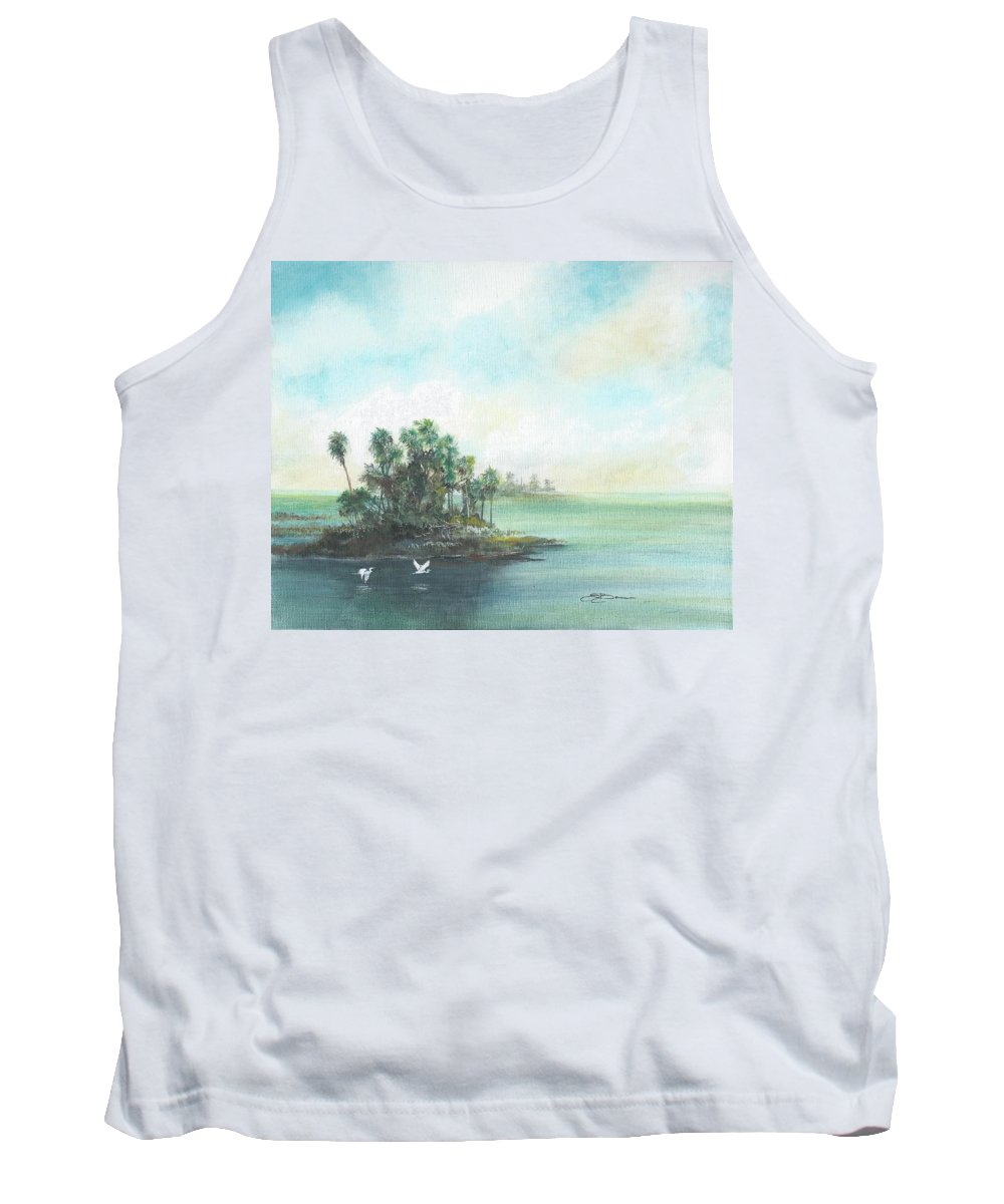 Gulf Tank Top featuring the painting Private Island by Sharon Bowman