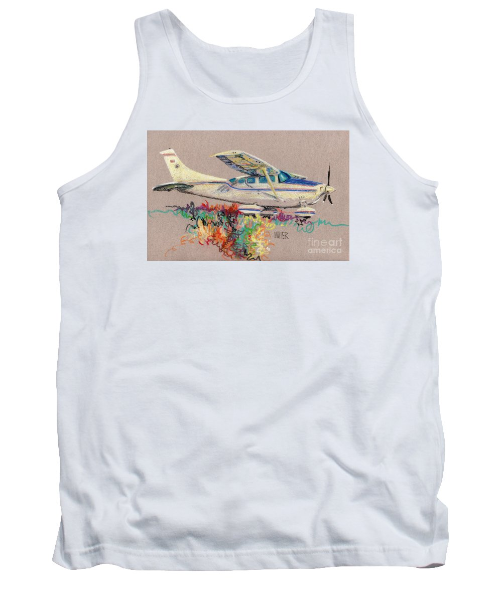 Small Plane Tank Top featuring the drawing Private Plane by Donald Maier